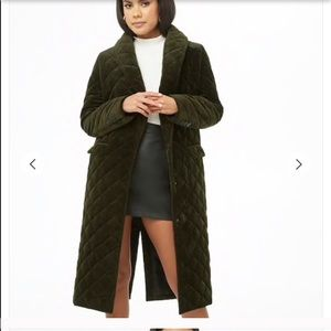 Quilted green long coat
